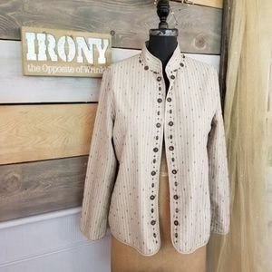 Alfred Dunner Beige Beaded Jacket Cover-up